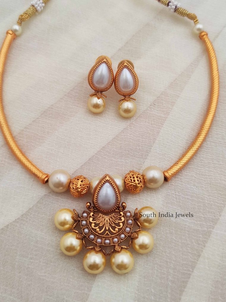 Beautiful Pearl Design Tube Necklace