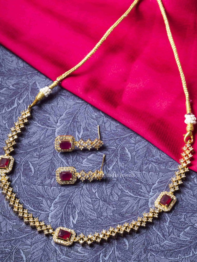 Beautiful Pink Stone AD Necklace
