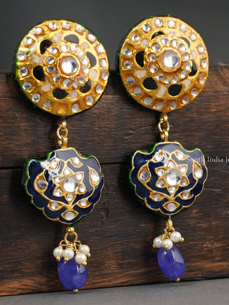 Beautiful Round Blue Enamel Earrings