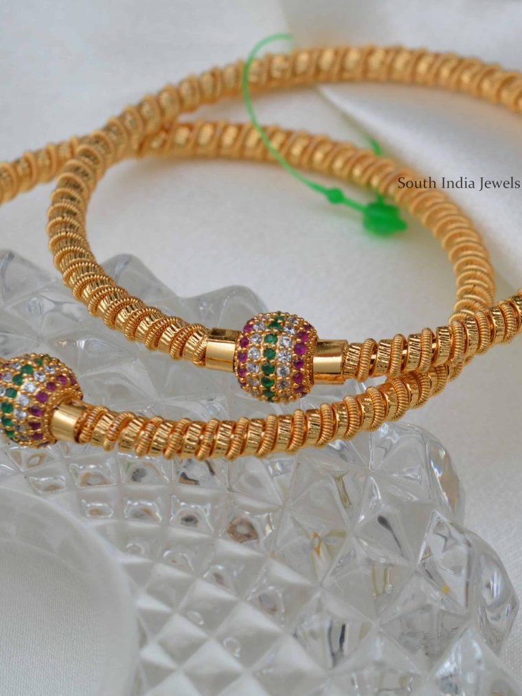 Beautiful Ruby Emerald Ball Design Bangles