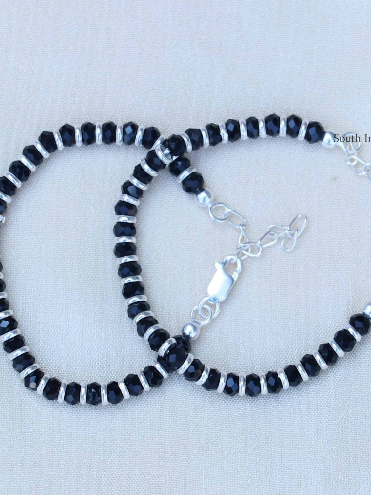 Black Beads 92.5 Sterling Silver Baby Bracelet