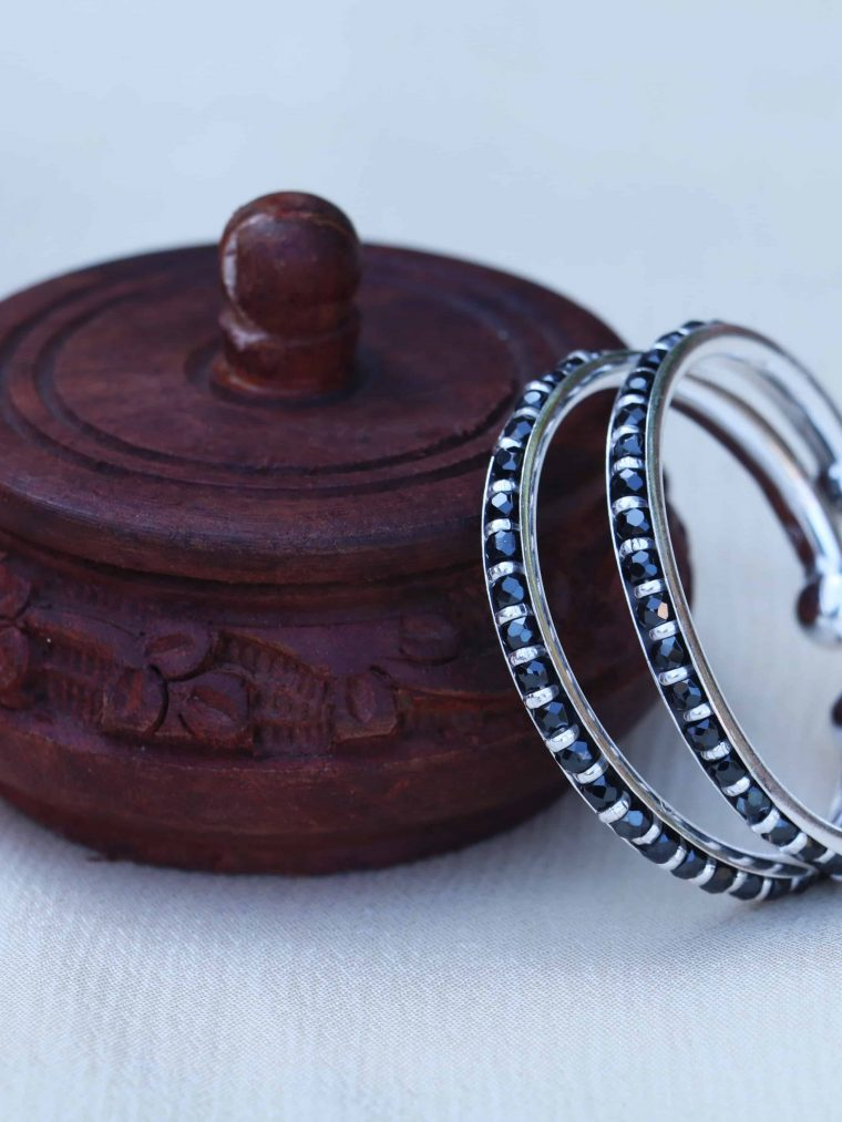 Black Beads 92.5 Sterling Silver Baby Kada Bracelet (2)