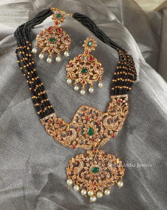 Black Beads AD Long Necklace Set