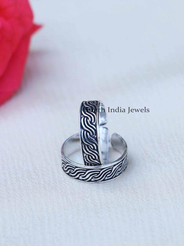 Black Enamel Sterling Silver Toe Rings