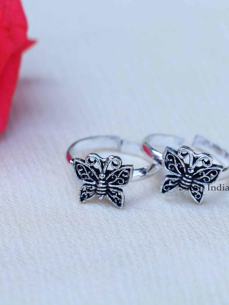 Butterfly Design Sterling Silver Toe Rings