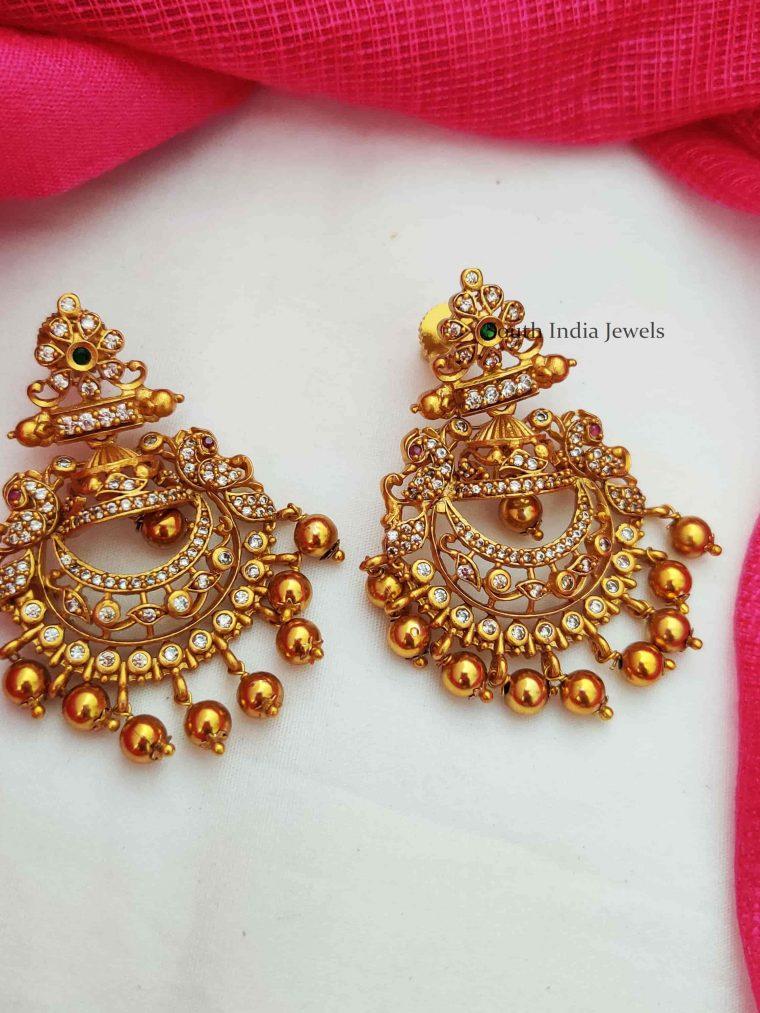 Chandbali Design Golden Beads Earrings (2)