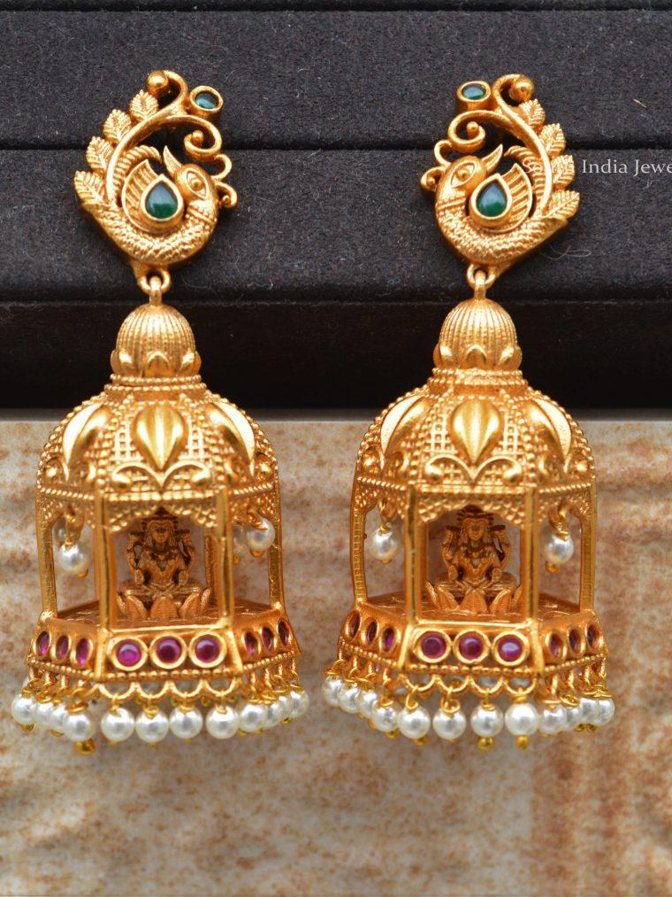 Chariot Lakshmi Design Jhumkas