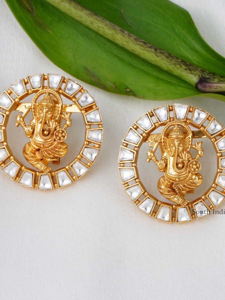 Classic Ganesh Kundan Stud Earrings