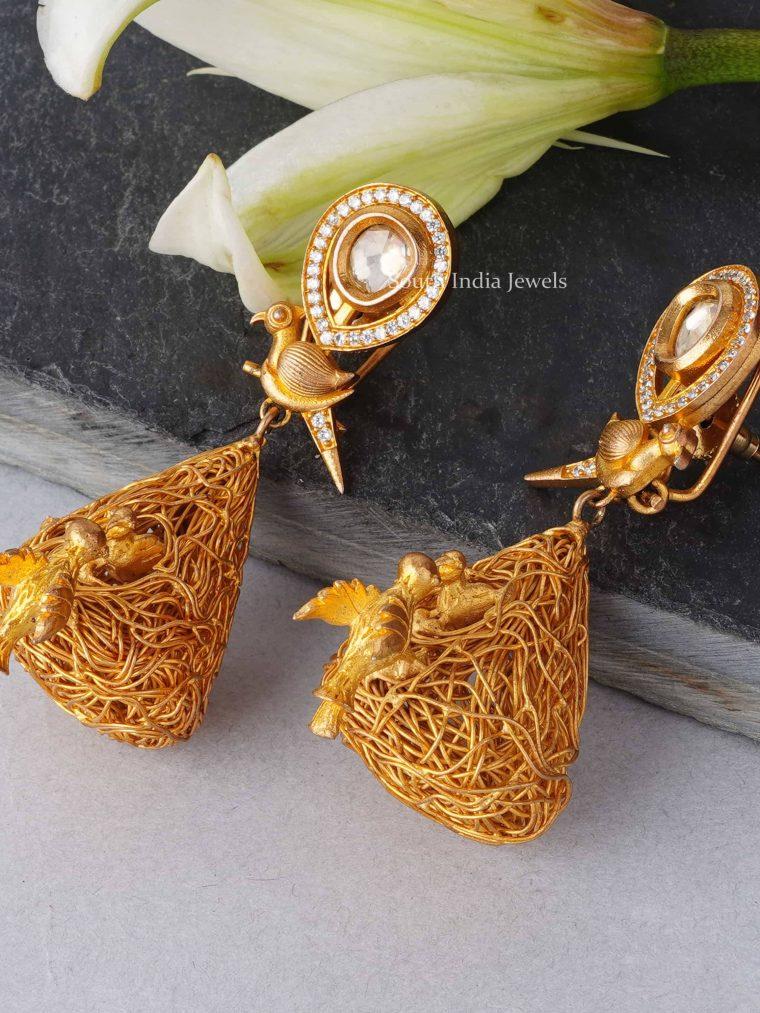 Cute Birds Nest Design Earrings