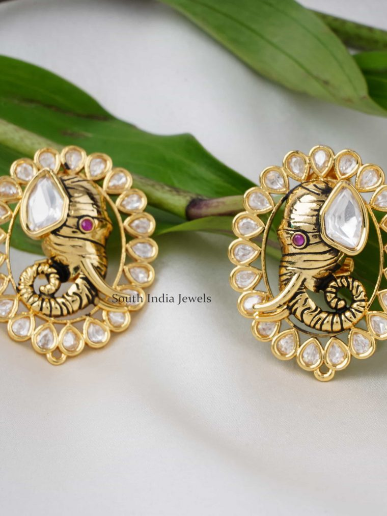 Cute Elephant Design Kundan Earring