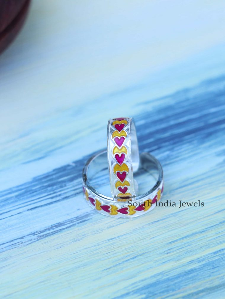 Cute Enamel Sterling Silver Toe Rings