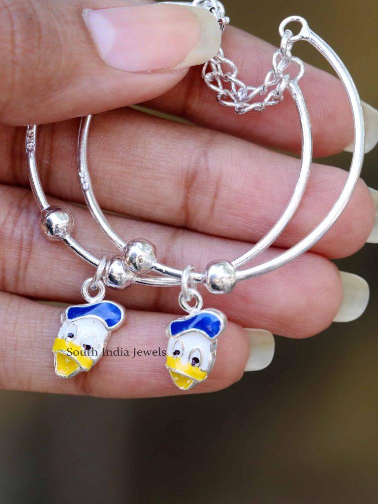 Donald Duck Design 92.5 Sterling Silver Baby Bracelet