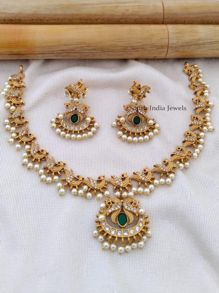 Elegant Matte Finish Peacock Necklace Set