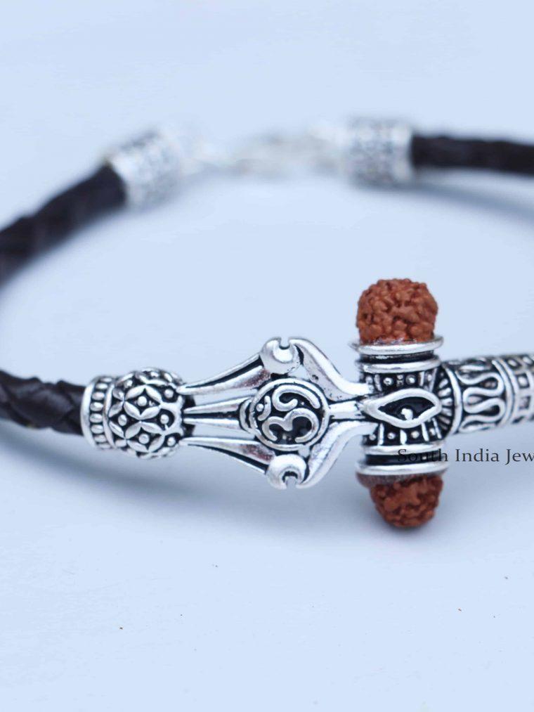 Elegant Rudraksh Om Trishul Dumroo 925 Silver Bracelet