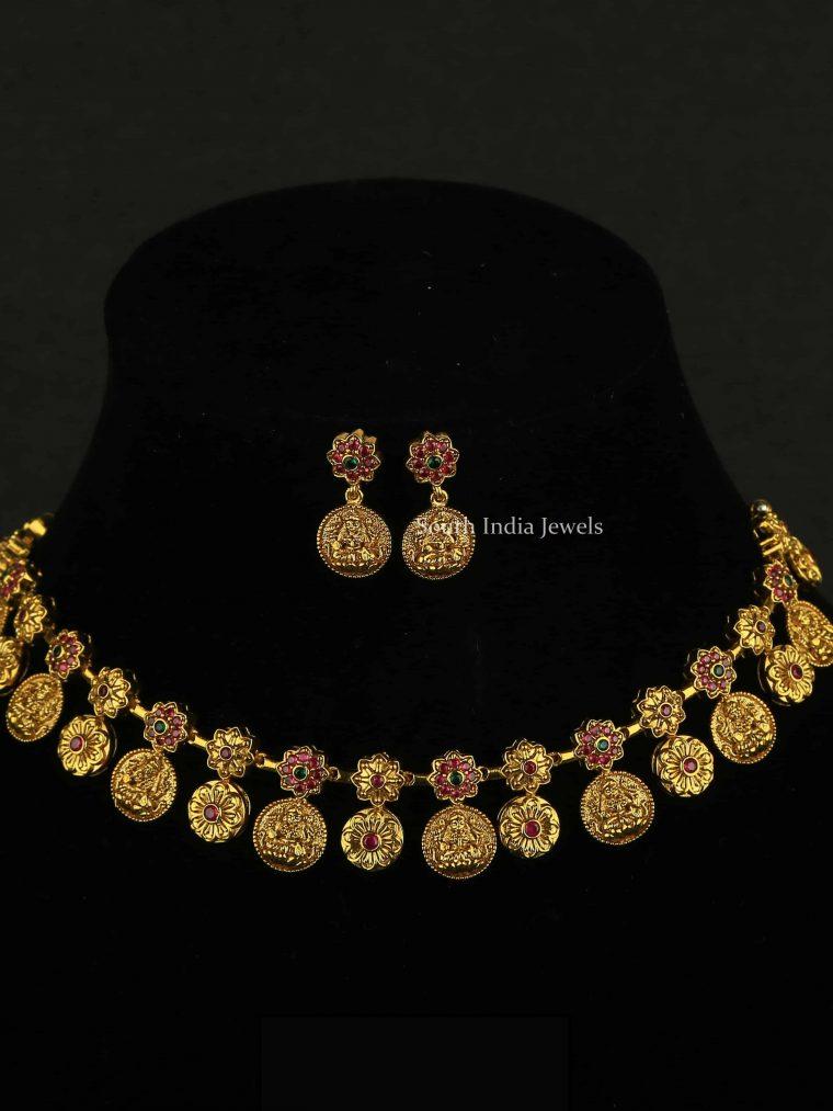 Floral Design Lakshmi Coin Necklace