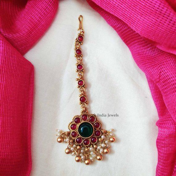Floral Design Pearl Beads Maang Tikka