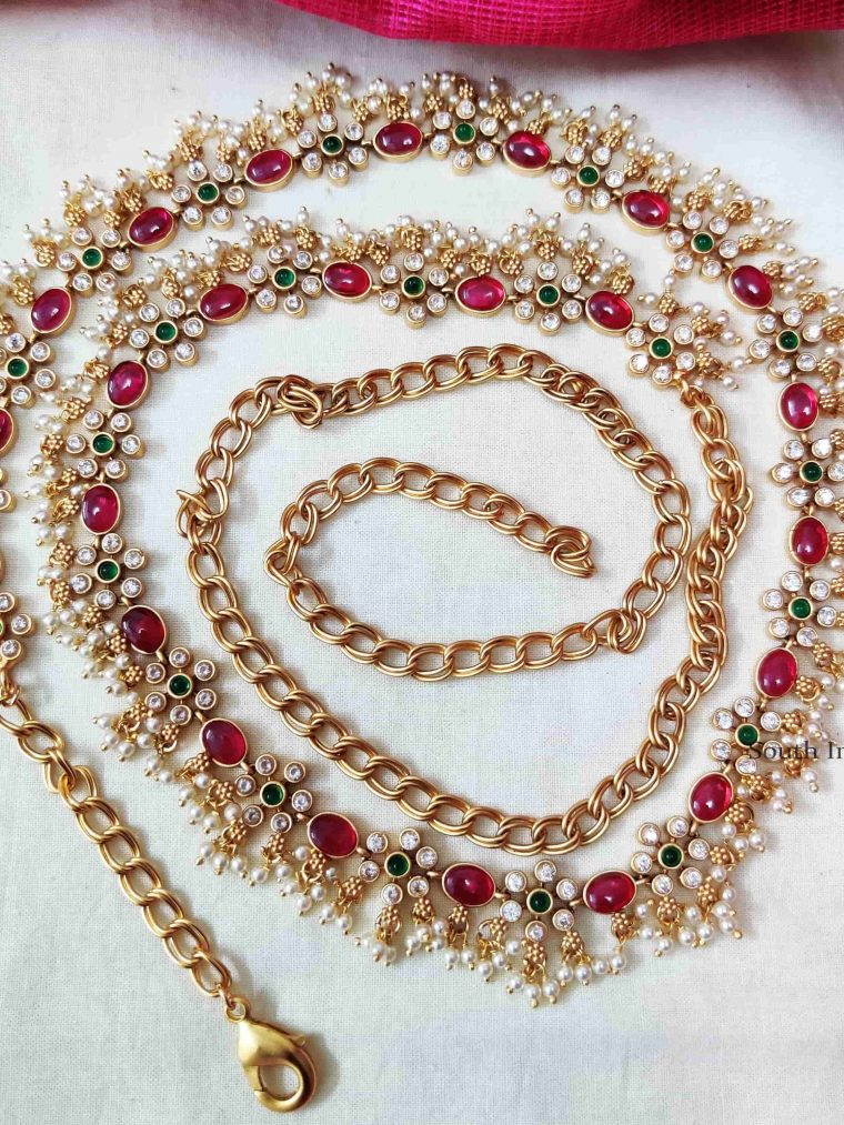 Floral Design Pearl Beads Pink Stone Hip Chain