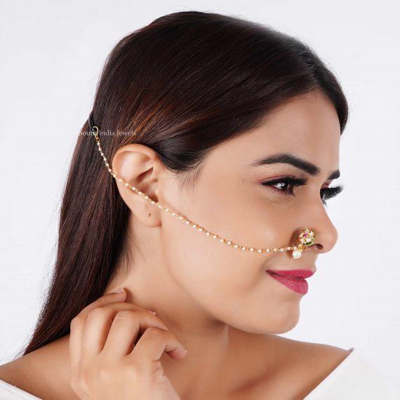 Floral Design Sleek Nose Pin (2)
