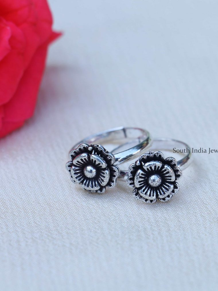 Floral Design Sterling Silver Toe Rings