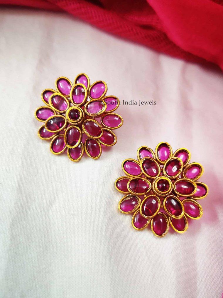 Floral Designer Pink Color Earrings