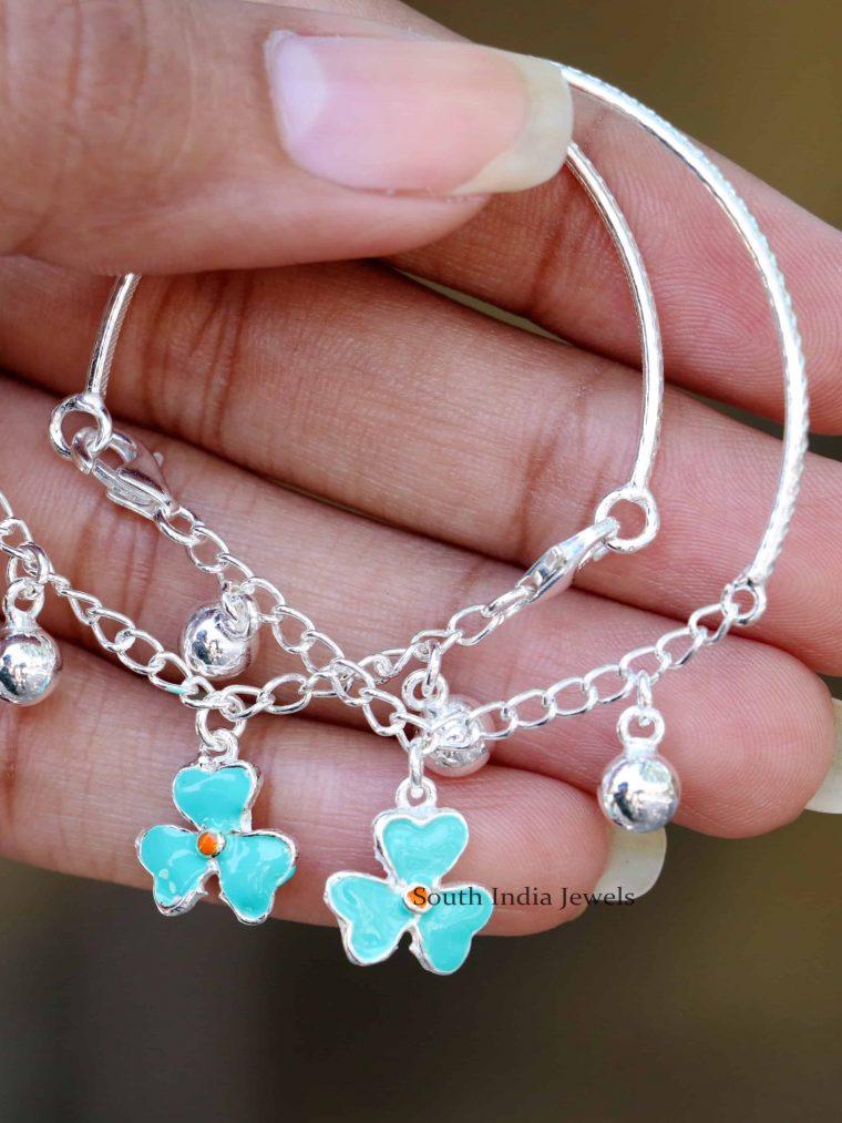 Flower Design 92.5 Sterling Silver Baby Bracelet