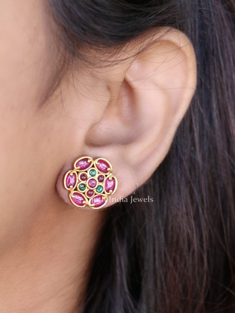 Flower Design Ruby Stone Ear Studs (2)