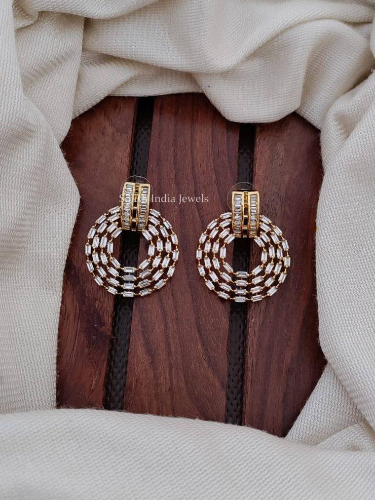 Gold Finish CZ Stone Bali Earrings