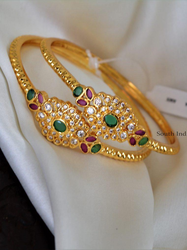 Gold Finish Ruby Emerald Bangles