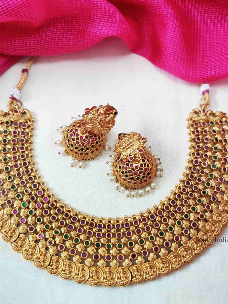 Gold Plated Laxshmi Coin Droplet Necklace