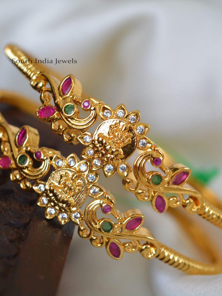 Gold Polish Lakshmi Design Bangles