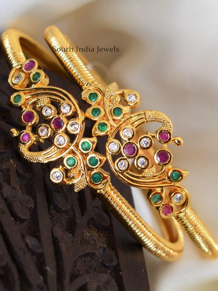 Gold Polish Peacock Design Bangles