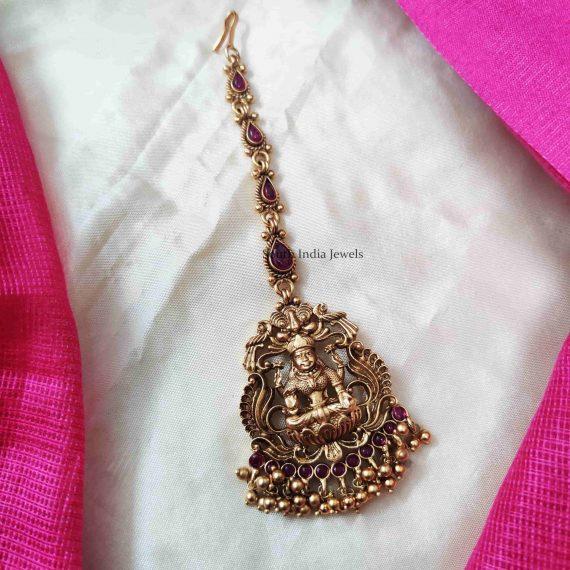 Golden Beads Lakshmi Maang Tikka (3)