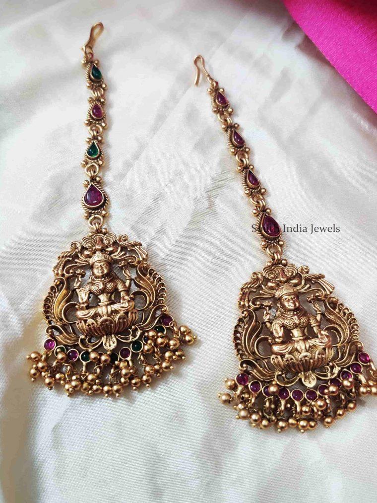 Golden Beads Lakshmi Maang Tikka
