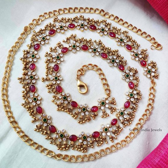 Golden Beads Multi Stone Hip Chain