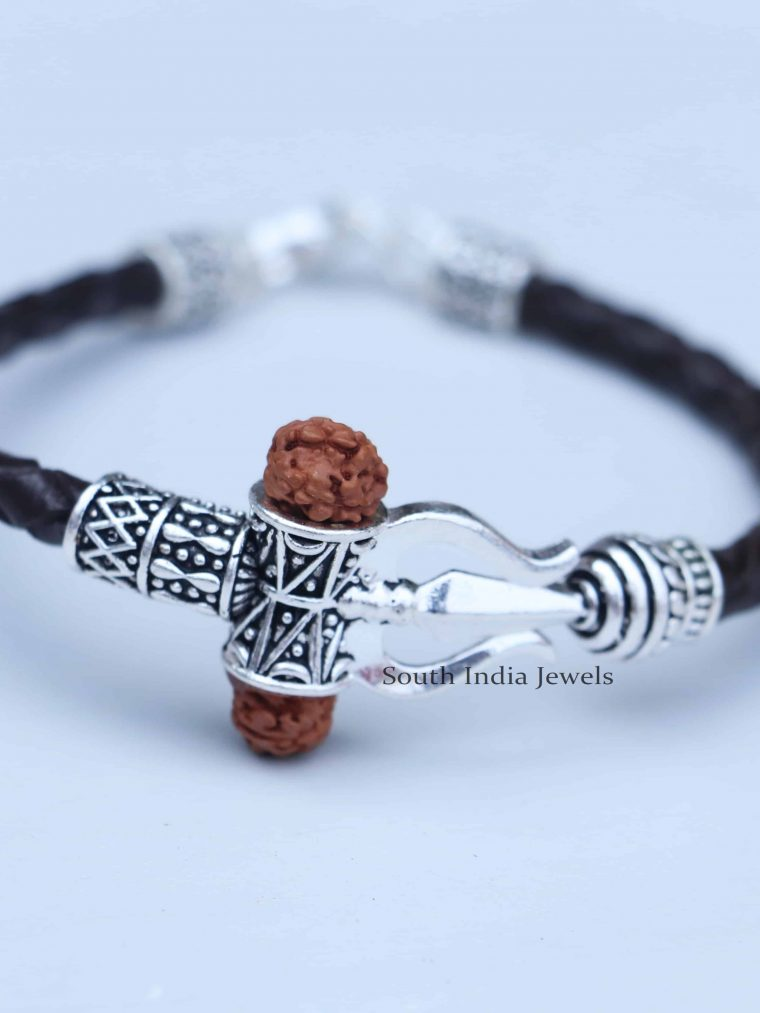 Gorgeous Rudraksh Om Trishul Dumroo 925 Silver Bracelet