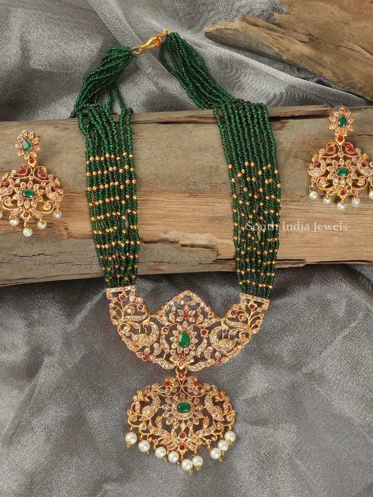 Green Beads AD Long Necklace Set