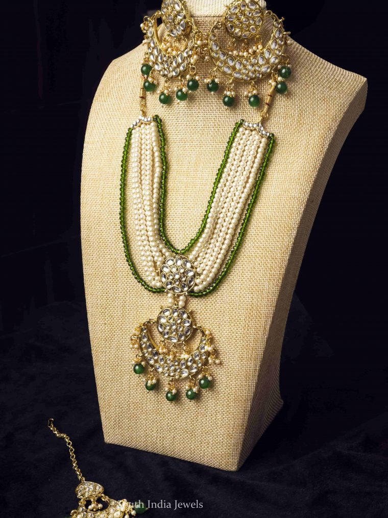 Green Beads Droplet Moon Necklace