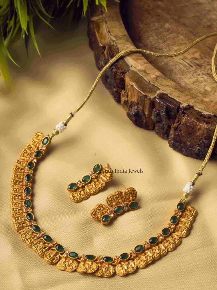 Green Charming Laxshmi Coin Necklace Set