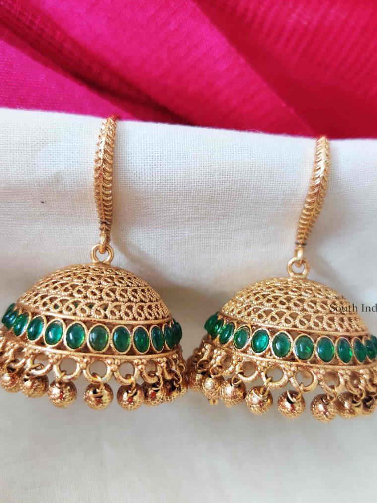 Green Stone Golden Beads Jhumkas