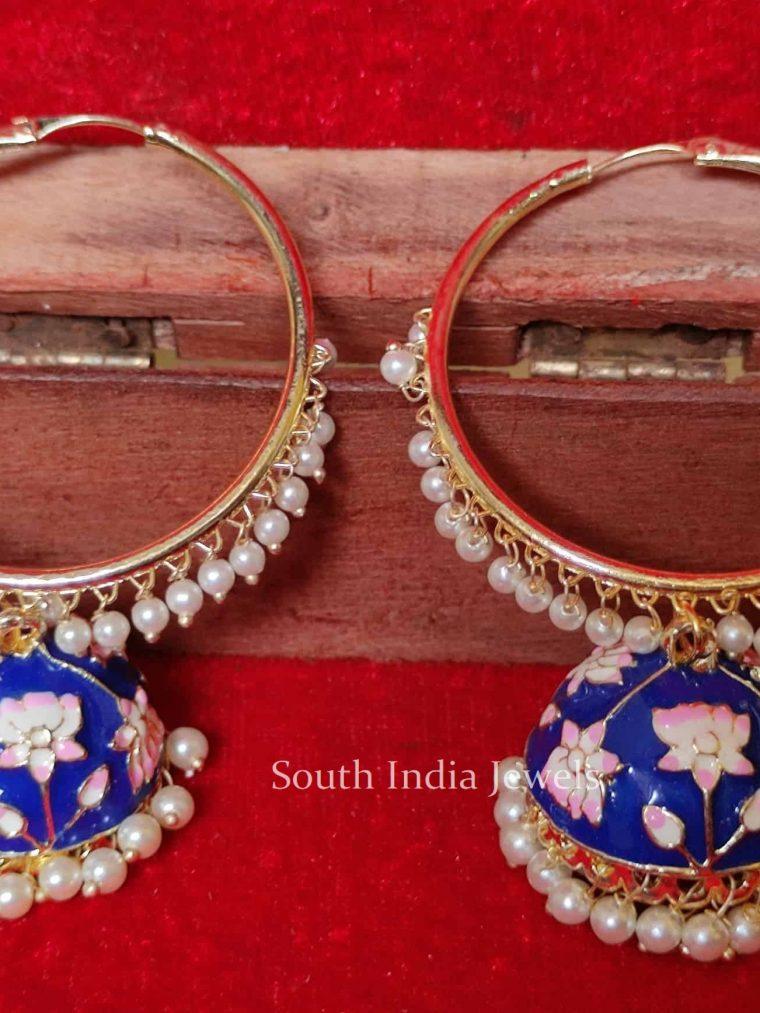 Hand Painted Meenakari Jhumka Earrings