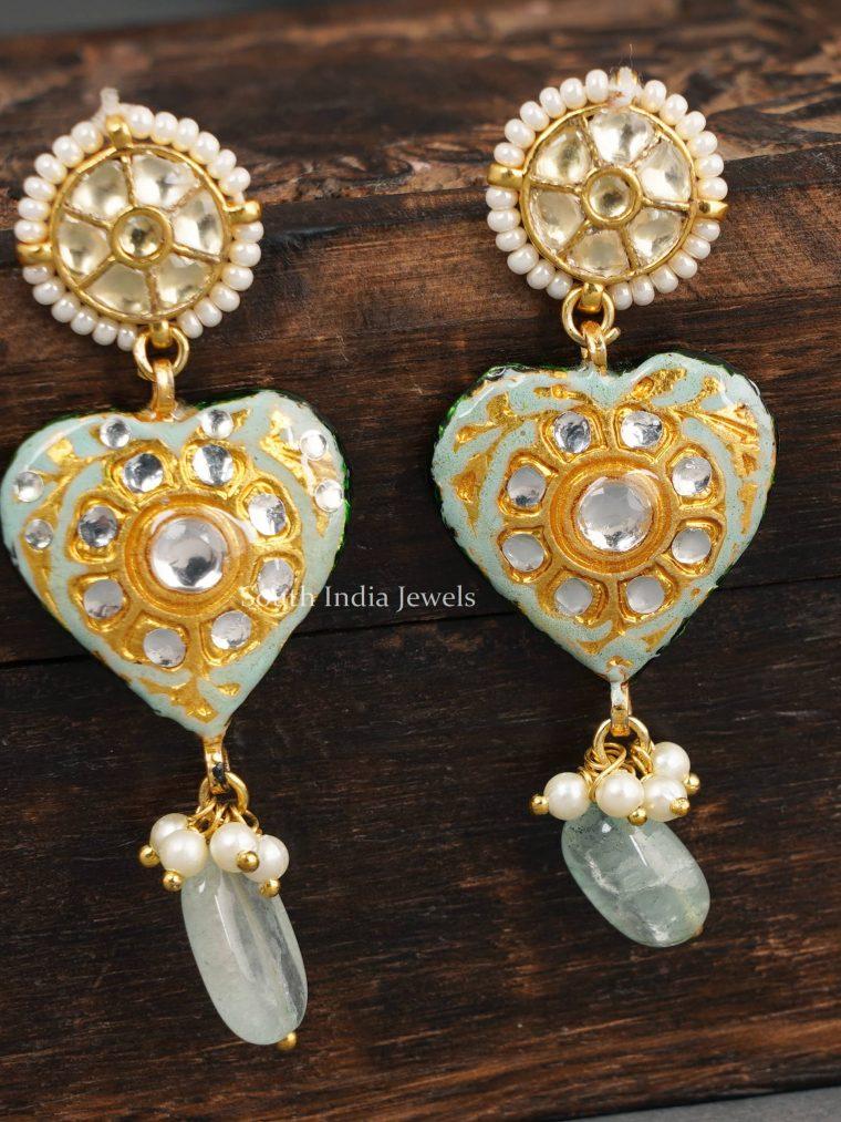 Heart Design Kundan Earrings
