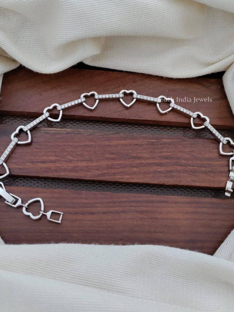 Heart Design Platinum Finish Bracelet