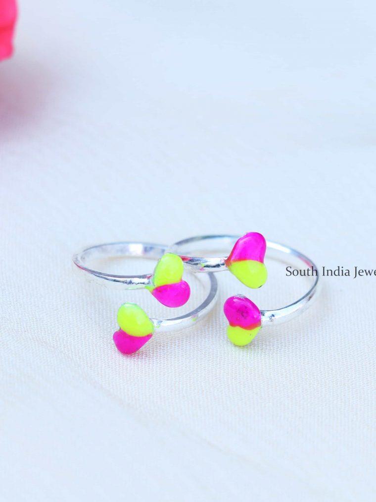 Heart Enamel Sterling Silver Toe Rings