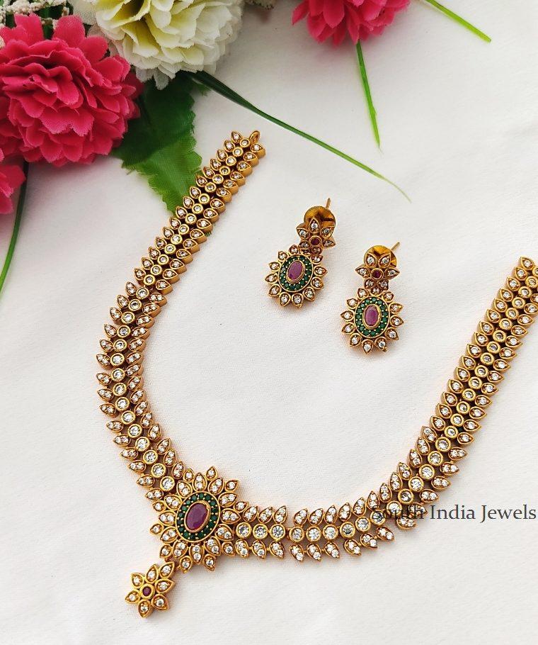 Imitation Simple Stone Matte Finish Necklace