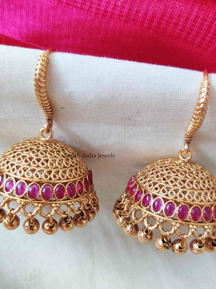 Kemp Stone Golden Beads Jhumkas