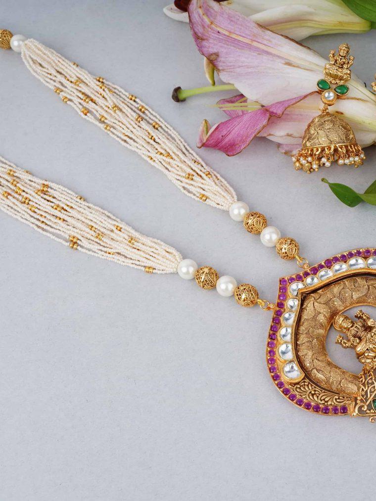 Lakshmi Kundan Pendant Necklace Set