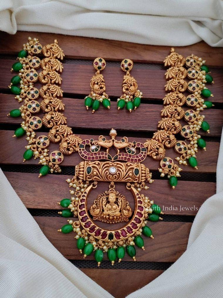 Lakshmi Peacock Design Kemp Necklace