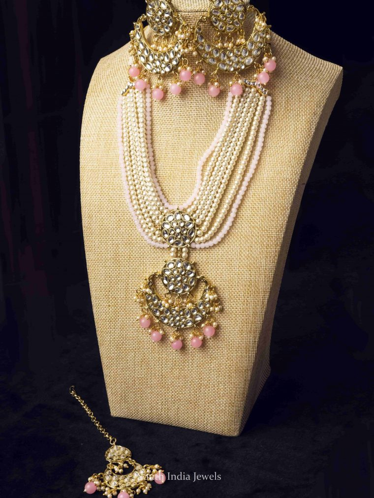 Layered Pink Bead Droplet Moon Necklace