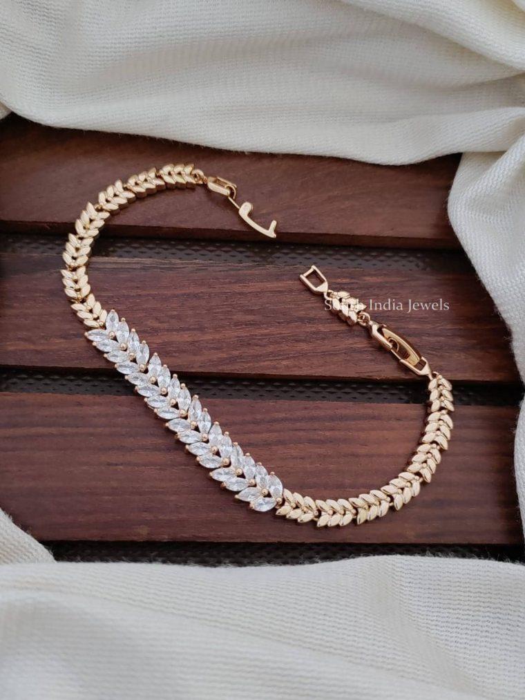 Leaf Design CZ Stone Bracelet
