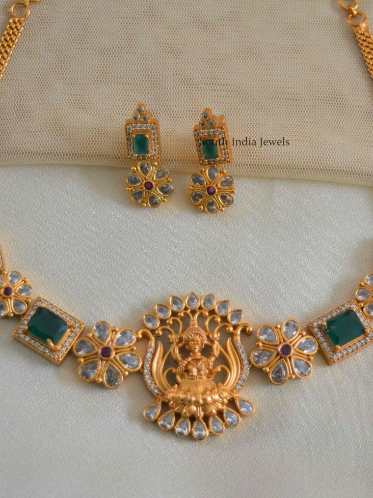Lotus Design Green Stone Necklace